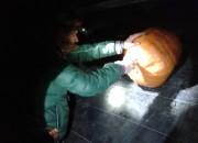 TomatOS Einblicke 2013: Gemeinschaftstreffen: Der Monsterkürbis wird zerlegt, die Topinambur-Knollen werden geerntet -5