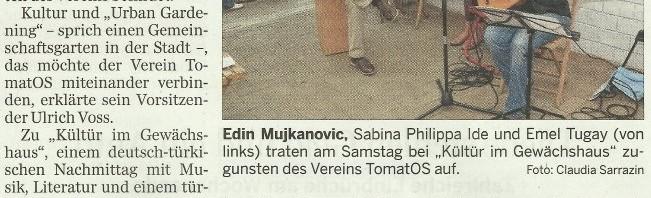 """NOZ-Artikel zu """"Kültür im Gewächshaus"""""""