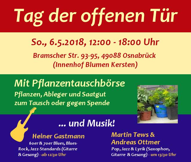 Tag der offenen Tür mit Pflanzentauschbörse und Musik am 6.5.2018